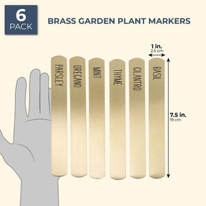 6x Brass Metal Herb Plant Garden Markers, Reusable Weatherproof Tags for Flowers