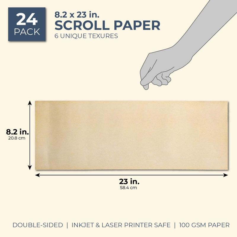 Juvale Antique Vintage Stationery Scroll Paper (24 Sheets), 6 Designs