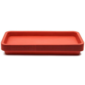 Juvale Terra Cotta Planter Pot Saucer Tray (12.4 x 6.5 in, Rectangle, Plastic, 8 Pack)