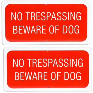 "2Pcs No Trespassing Beware of Dog Sign 6"" x 12"" for Indoor Outdoor Garden Use"