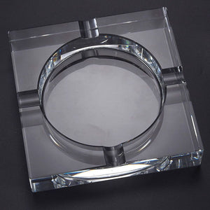 Cigar Ashtray Square Crystal Tabletop Ash Tray 4 Slots Clear 7.1 x 1.46 x 7.1 in