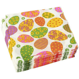 100-Pack Decorative Napkins - Disposable Paper Party Napkins with Easter Egg Designs - Perfect for Birthday Parties, Celebrations and Special Occasions, 13 x 13 Inches