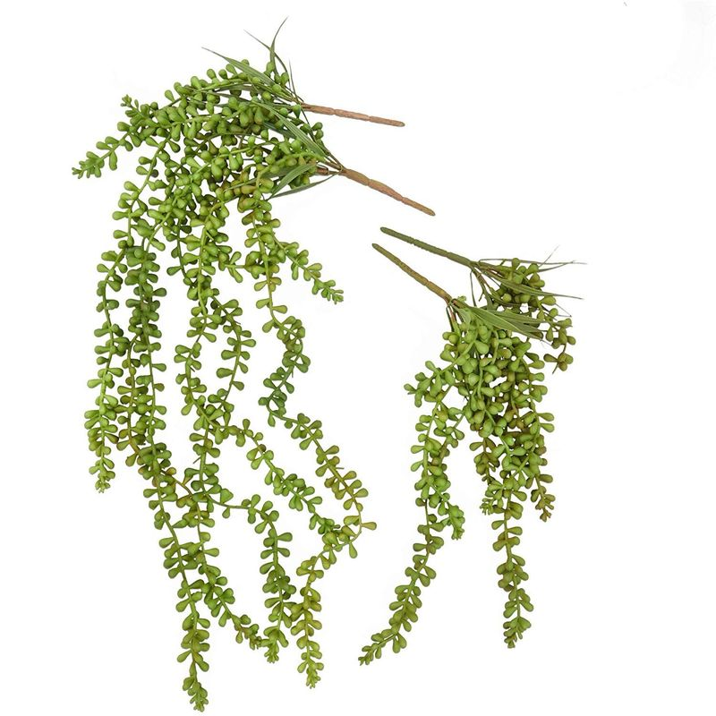 6x Artificial Succulents, Fake Hanging String of Pearls Plants in Green, 2 sizes