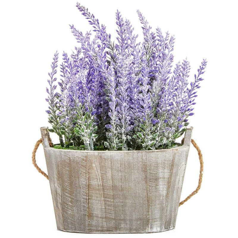 Artificial Lavender Fake Flower Plant in Rustic Oval Wooden Box for Decorations