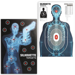 Juvale Human Silhouette Paper Shooting Targets (25 x 38 in, 2 Designs, 50 Pack)