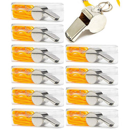 Juvale Sports Whistles with Lanyards for Coaches and Referee (1.7 x 0.7 in, Silver, 10 Pack)