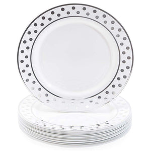 24x Silver Plastic Dinner Plates for Parties Birthday Wedding Polka Dot 9""