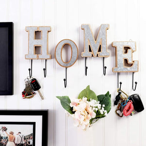 Home Wooden Letters Key Holder and Wall Decor (8 Inch Tall, 4 Pieces)