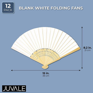 12 Pack Bamboo Hand Fan for Women, 8 Inch White Folding Hand Held Fan