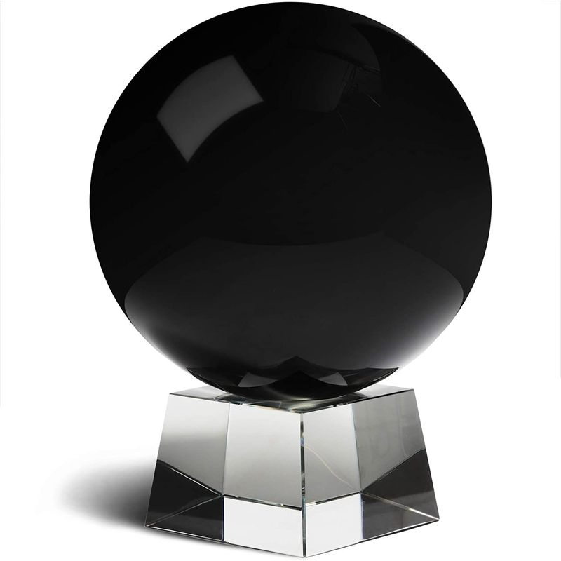 "6"" 150mm Black Crystal Ball Glass Sphere Decorative Photography with Stand"
