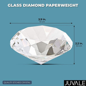 Crystal Diamond Shaped Glass Paperweight for Desk and Table Decor (4 Inches)
