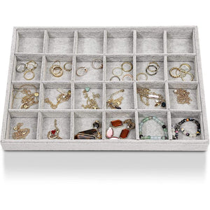 24 Grid Stackable Jewelry Tray (13.5 x 9.5 Inches, Grey Velvet)