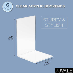 6-Pack Acrylic Bookends for Shelves, Crystal Clear Real Eye Catcher in Office