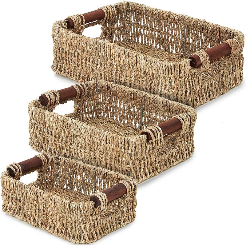 "3pcs Brown Rectangle Woven Wicker Storage Basket Container Organizer  6"" 7"" 8"""