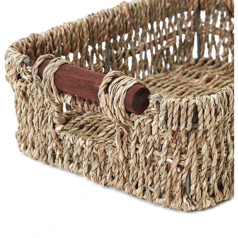 Juvale Woven Wicker Baskets with Handles in 3 Sizes for Home Organization (3 Pack)