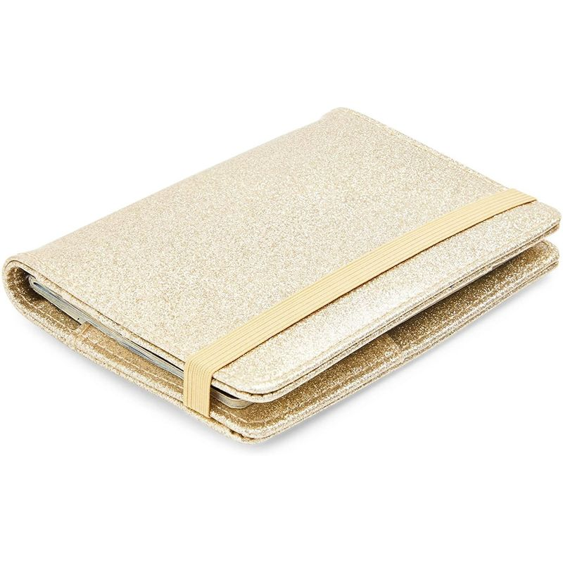 Passport Holder Block RFID Travel Wallet & Luggage Tag, PU Leather, Glitter Gold