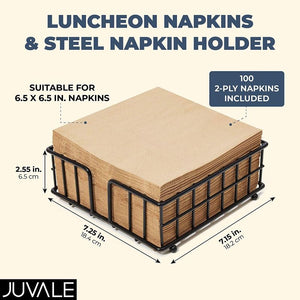 Black Steel Napkin Holder with Brown Paper Napkins (7.25 x 7.15 x 2.55 Inches)