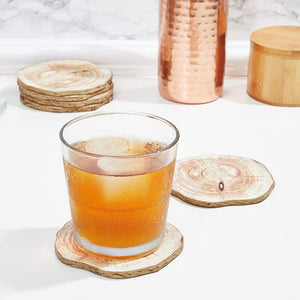 "6pcs 3.9"" Round Wood Natural Coaster Set with Rope for Drinks Cups & Home Decor"