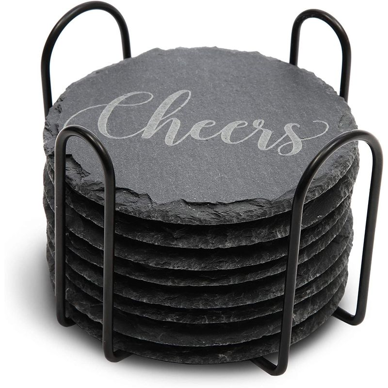 Juvale Round Black Slate Stone Coasters Set with Steel Stand (3.8 Inches, 8 Pack)