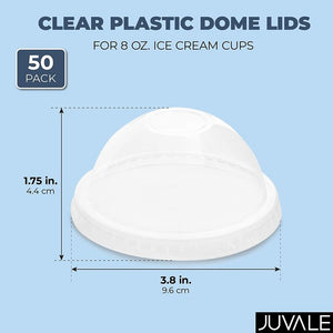50-Pack Plastic Dome Lids for 8 ounce Ice Cream Frozen Dessert Cups, Clear