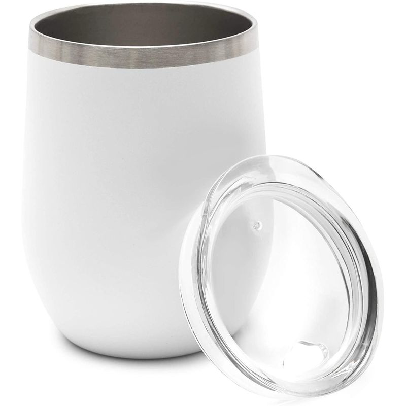"2pcs White 12oz Insulated Stainless Steel Travel Coffee Mugs with Lids 3.5""x4.5"""