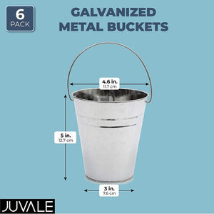 Galvanized Metal Buckets for Home Decoration (5 Inches, 6 Pack)