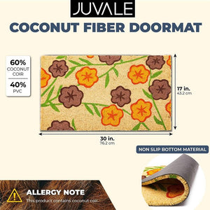 Bright Floral Natural Coir Nonslip Welcome Door Mat (17 x 30 in)