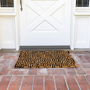 Black Patterned Door Mat, Nonslip Coir Welcome Doormat (17 x 30 in.)