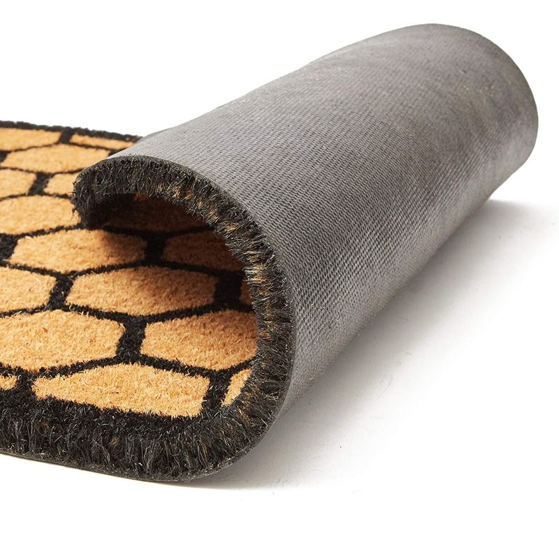 Half Round Natural Coir Nonslip Welcome Door Mat, Honeycomb Pattern (17 x 30 in)