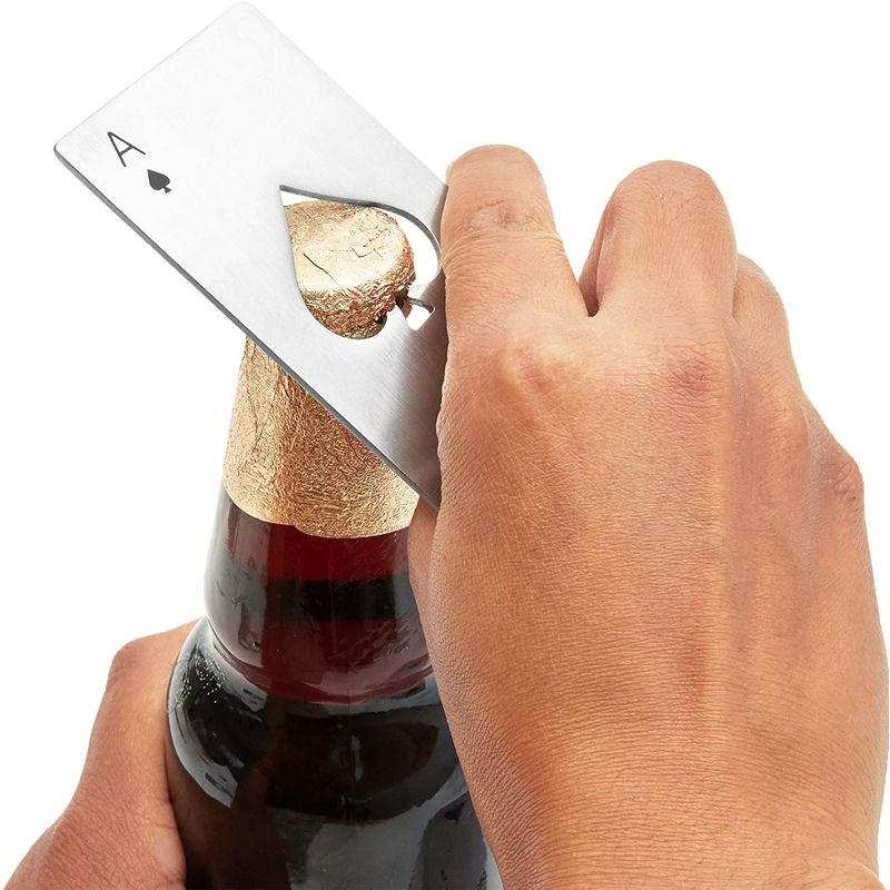 12pcs Stainless Steel Wine Beer Bottle Opener Credit Card Ace Poker Card Silver