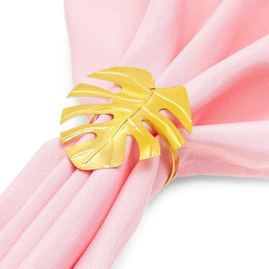 Juvale Tropical Leaf Napkin Rings (1.7 Inches, Gold, 12-Pack)