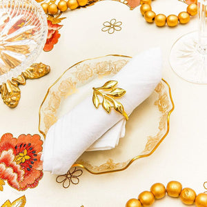 12pcs Leaf Gold Napkin Rings Holder for Dinner Table Wedding Event, 1.8 inches
