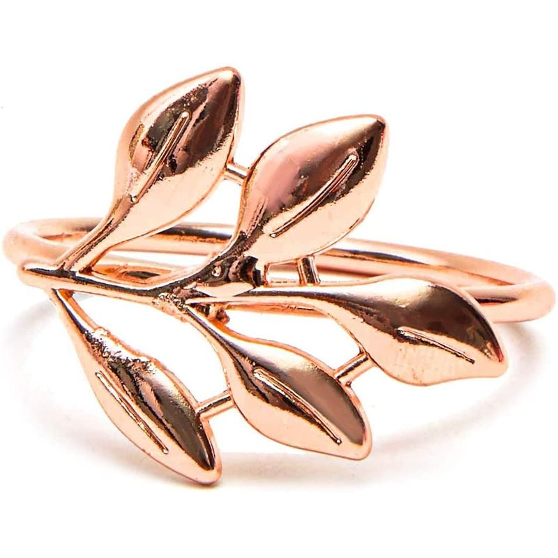 12pcs Metal Leaf Rose Gold Napkin Rings Holder for Dinner Table Wedding 1.8""