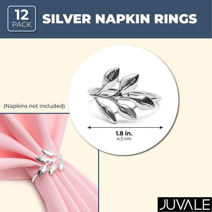 Juvale Metal Leaf Napkin Rings (1.8 Inches, Silver, 12-Pack)