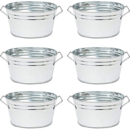 Juvale 6 Pack Oval Galvanized  Planter Pots with Handles for Home Decorations