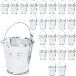 Juvale 24 Pack Galvanized Buckets Metal Buckets with Handles for Party Favors
