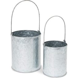 Juvale 2 Sizes Galvanized Buckets Metal Buckets with Handles for Home Decoration