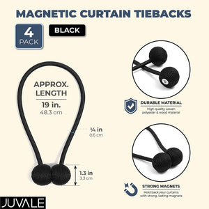 Juvale Black Magnetic Window Curtain Tiebacks (19 in, 2 Pair)