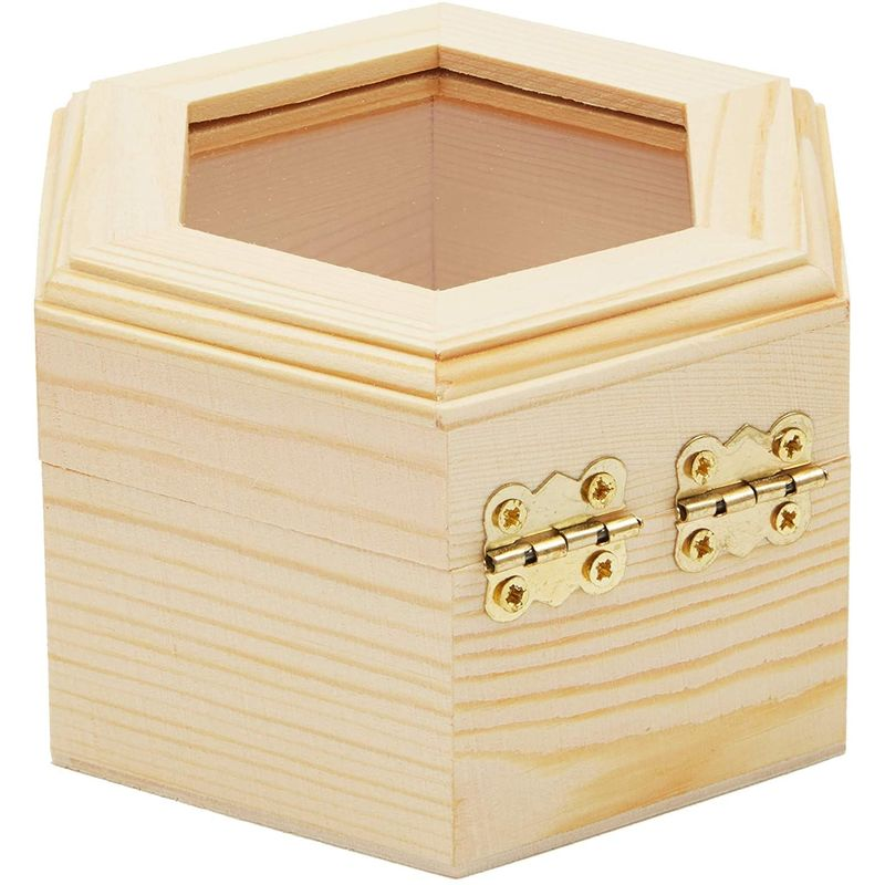 Juvale 3 Pack DIY Unfinished Hexagon Wooden Box with Window and French Buckle
