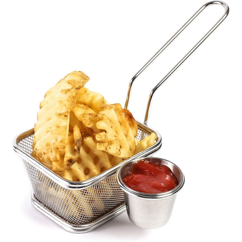 2-Pack French Fries Basket Stainless Steel with Sauce Cup for Restaurant & Party