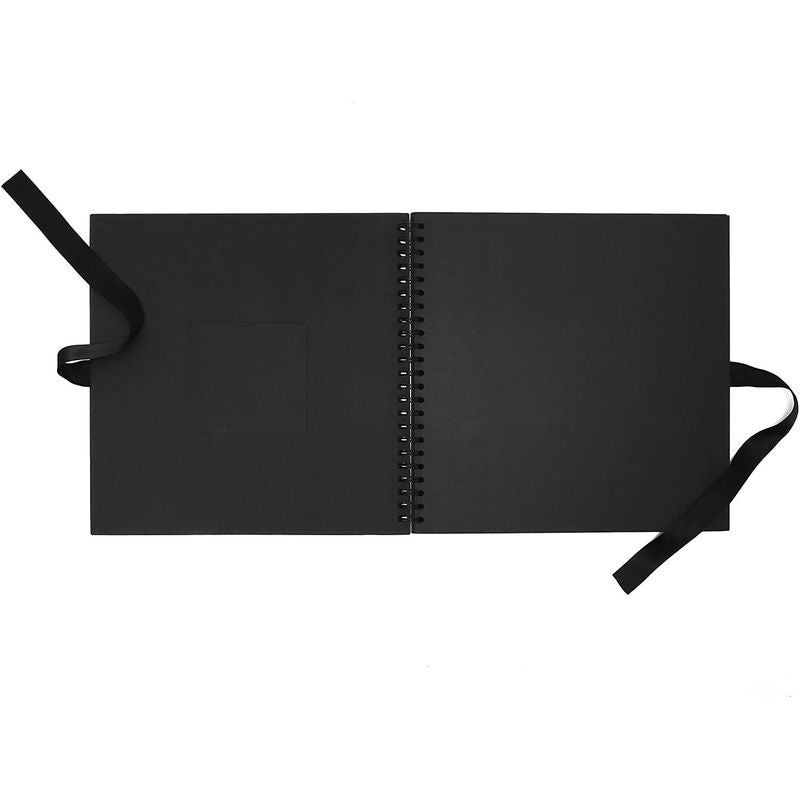 DIY Scrapbook Album, Black Cover with Photo Window (12 Inches, 80 Pages)