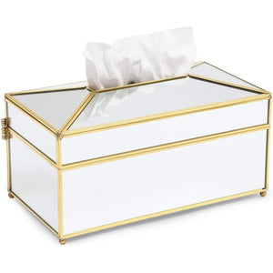 Juvale Gold Mirror Tissue Box Cover for Home Decor (10.5 x 5.5 Inches)