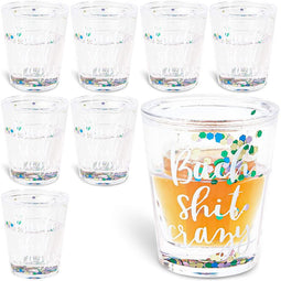 """Bach Sht Crazy"" Confetti Shot Glasses, For Drinking Games, Bachelorette Parties, College Graduations (2 In, 8 Pack)"