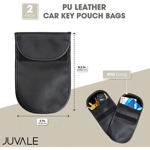 RFID Car Key Pouches, Black PU Leather Bags (2 Pack)