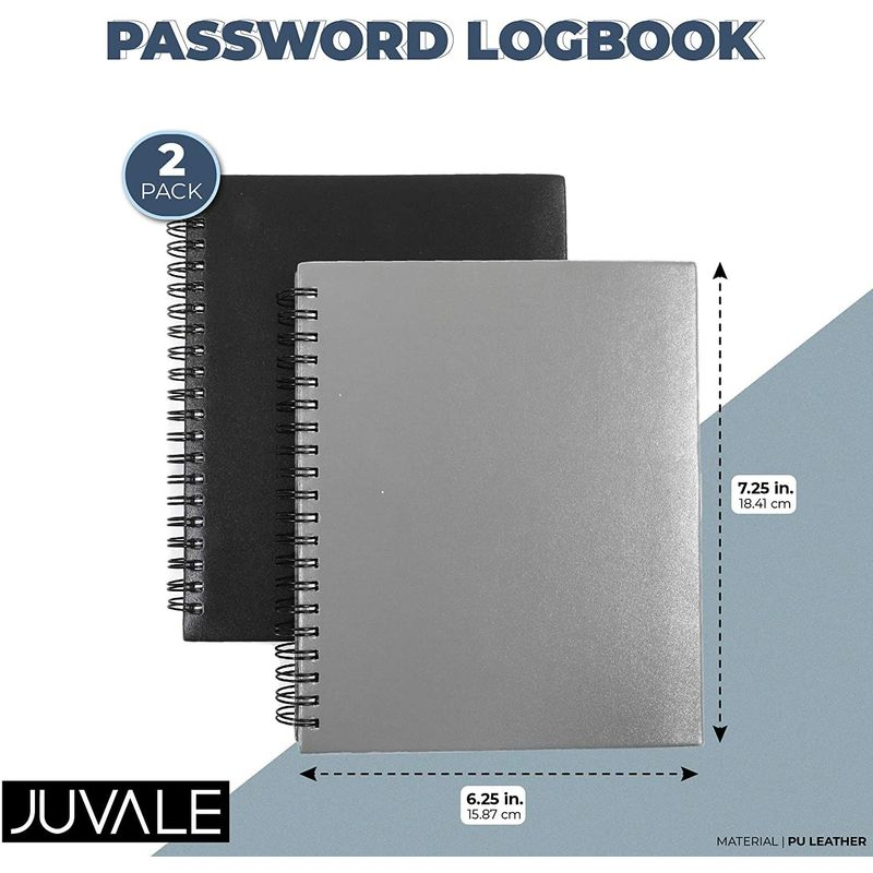 Password Notebooks with Alphabetical Tabs (6.25 x 7.25 in, 2 Pack)