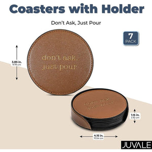 Leather Coasters, Don't Ask Just Pour (6 Pack)