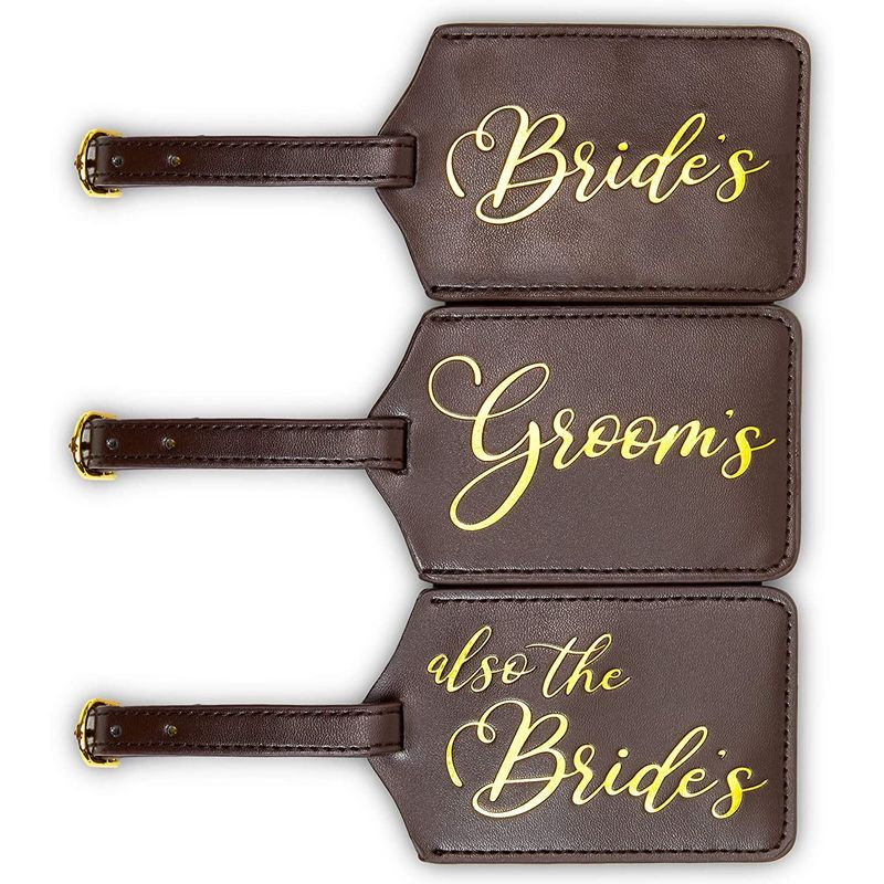 Bride and Groom Luggage Tag Set with Gift Box, Wedding Gifts (3 Piece Set)