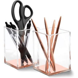 Clear Acrylic Pencil Holder for Desk and Office Organization (Rose Gold, 2-Pack)