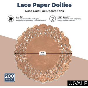 Lace Paper Doilies, Rose Gold Foil Decorations for Crafts (6