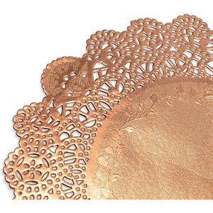 Lace Paper Doilies, Rose Gold Foil Placemats (8 In, 100 Pack